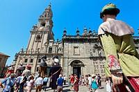 Galician folklore, Feast day of Santiago, July 25, Catedral, Praza da Quintana, Santiago de Compostela, A Coruña province, Galicia, Spain.