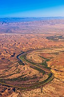 Aerial view taken over Big Bend National Park, Texas USA looking to the Rio Grande River, which is the border between the U S  and Mexico  Mexico is o...