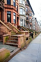Brownstone Attached Row Houses in the Park Slope Section of Brooklyn, NY, USA