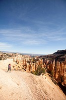Young woman hiking in Bryce Canyon National Park.
