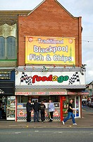 Traditional fish and chips shop on Blackpool Promenade