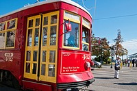 New Orleans tram on the Canal Street Line, New Orleans, state of Louisiana, USA, North America