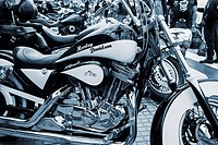 Harley Davidson motorcycles at rally in Las Palmas, Gran Canaria, Canary Islands, Spain