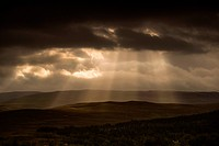 Sunbeams Shining Through Dark Storm Clouds, Applecross Peninsula Wester Ross Scotland