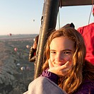 Portrait Of A Girl In A Hot Air Balloon, Goreme Nevsehir Turkey