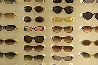 A display of sunglasses.