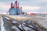 Inland grain terminal and railway tracks south of Regina.