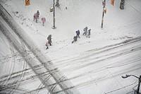 Pedestrians in a winter storm, toronto ontario canada