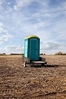 Portable toilet on a trailer, alberta canada