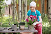 Middle_aged woman repotting flowers outdoors.