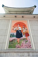 Colourful wall paintings outside the National Theatre, Pyongyang, Democratic People´s Republic of Korea DPRK, North Korea, Asia