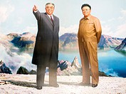Painting of the Great Leaders, Kim Jong Il and Kim Il Sung, Pyongyang, Democratic People´s Republic of Korea DPRK, North Korea, Asia