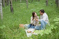 Mid_adult couple enjoying wine on their picnic in the woods
