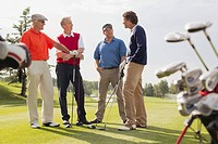 Golfing foursome having a conversation on golf green