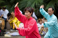 Martial Art, Taichi performing at Kowloon Park, Hong Kong