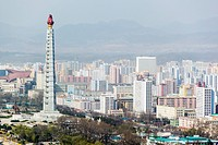 City skyline and the Juche Tower, Pyongyang, Democratic People´s Republic of Korea DPRK, North Korea, Asia
