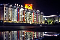 Kim Il Sung Square, illuminated at night, Pyongyang, Democratic People´s Republic of Korea DPRK, North Korea, Asia