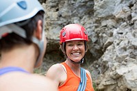 Two female rock climbers having a conversation