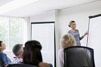 Pretty office worker making presentation to group