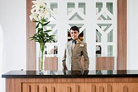 Female receptionist in hotel reception