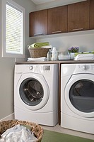 Energy efficient washer and dryer in laundry room
