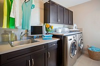 Modern laundry room with washer and dryer