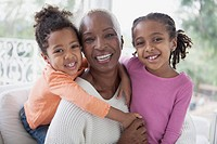 Beautiful portrait of grandmother and young granddaughters