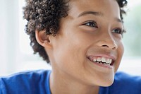 Close_up of African American preteen looking away