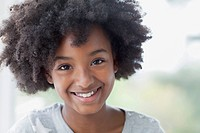 Portrait of African American girl with afro