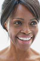 Close_up of pretty, middle_aged woman smiling