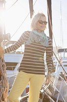 Senior woman dressed for sailing