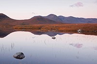 Lochan na h_Achlaise reflecting the surrounding mountains on Rannoch Moor, a Site of Special Scientific Interest, Scotland, United Kingdom, Europe