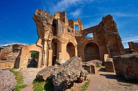 The Greek Library at Hadrian´s Villa  Villa Adriana  built during the second and third decades of the 2nd century AD, Tivoli, Italy  A UNESCO World He...