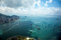 Panoramic sweep of Hong Kong West Victoria Harbour from Sky100, 393 metres above sea level, Hong Kong