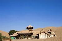 Moon spring pavilion, Yueyaquan Crescent moon lake, Mingsha Shan, Dunhuang, Silkroad, Gansu Province, China