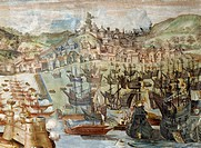 The conquest of Lisbon by Admiral Alvaro Bazan, August 28, 1580, detail of fresco in Portugal room, Palace of the Marquis of Santa Cruz, Viso del Marq...