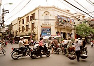 A street scene in Hanoi in Vietnam