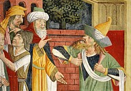 Jews in medieval oriental clothes, detail from Jesus before Caiaphas, fresco, by Giovanni Canavesio, 1491, in the Notre_Dame des Fontaines Chapel, La ...