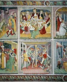 The Last Supper and the Flagellation, fresco, by Giovanni Canavesio, 1491, in the Notre_Dame des Fontaines Chapel, La Brigue. France, 15th century