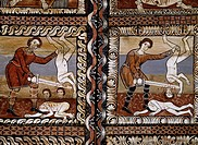 Massacre of the Innocents, detail from the pine and larch wood ceiling panels in St Martin's Church, ca 1160, Zillis, Switzerland.