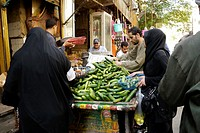 EGYPT  Street scenes in so called 'Islamic Cairo', the old quarter of the city near Bab Zuela  Market stall elling cucumbers