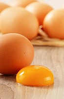 Chicken eggs on kitchen table