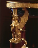 Basin with gilded bronze figure of a winged sphinx, detail Josephine Bonaparte's bed, carved and gilded wood, Chateau de Malmaison by architects Pierr...