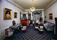 Girl's bedroom, in Biedermeier style, reconstructed in the Federal Collection of Period Furniture (Bundessammlung Alter Stilmobel), Vienna, Austria, 1...