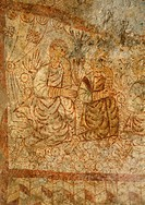 The chosen, detail from a 11th century fresco, St Michael´s St Miguel church, Tarrasa or Terrassa, Spain.
