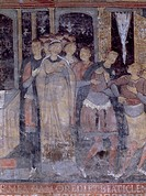 Detail of the Stories of St Clement, fresco in the lower church, Basilica of St Clement, Rome. Italy, 12th century.