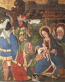 Adoration of the Magi, right panel of the altarpiece in Issogne Castle chapel. Italy, 15th-16th centuries.