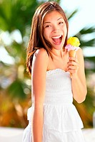 Ice cream girl excited