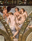 Detail from the fresco cycle Stories of Cupid and Psyche, by Raffaello Sanzio (1483-1520) and his assistants, Loggia of Cupid and Psyche, Villa Farnes...