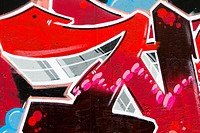 Red background picture of urban graffiti wall, texture